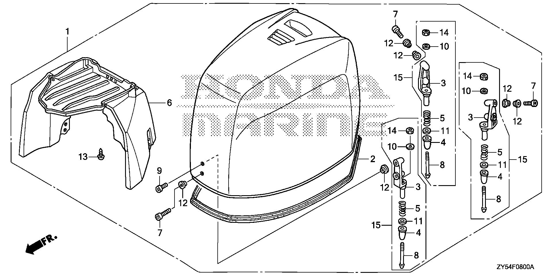 Honda Marine Parts Look Up Official Site Bf 150 Wiring Diagram Engine Cover Assy